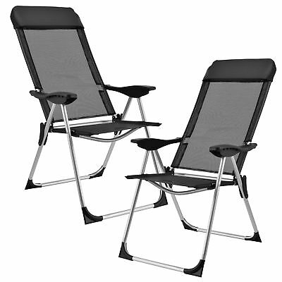 [casa.pro]® Set de 2 sillas camping playa plegables aluminio negras regulables