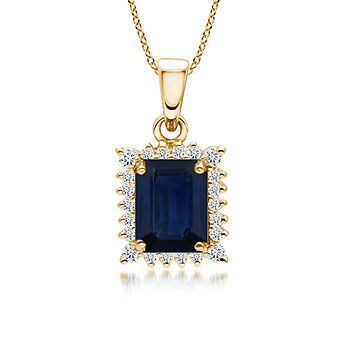 Vintage-Style Diamond Halo Emerald Cut Sapphire Pendant Necklace 14K Yellow Gold