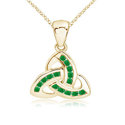 "Natural Round-Cut Emerald Knot Pendant Necklace in 14K Yellow Gold 18""Chain"