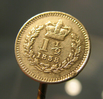£ Victorian silver 1838 coin stick pin threehalfpence coin