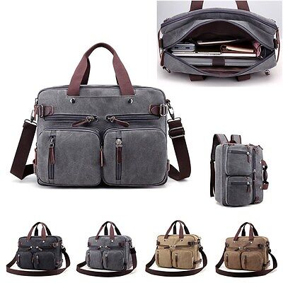 Canvas Convertible Backpack Briefcase Multi-Pocket Laptop Messenger Shoulder Bag