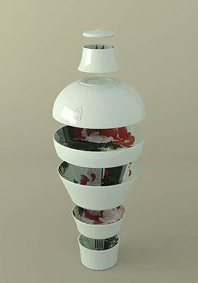 Ibride Peony Ming Vase/Stackable Set of 6 Melamine Bowls