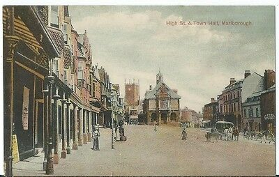 Marlborough High St & Town Hall Animated PPC by T E Leadley #8898 Unused