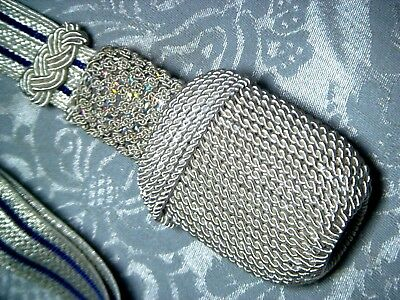 Sword Knot Silver, silver  Braid with Blue lineing -