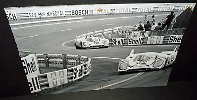 Old Black and White Poster-Photo Porsche Racing 1970's.