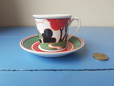 clarice cliff espresso cup and saucer 'red autumn''