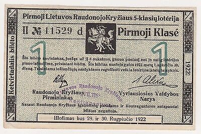 LITHUANIA lottery ticket 1922 rare *