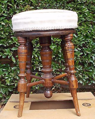 Victorian Rosewood Un-Restored Revolving Adjustable Piano Stool