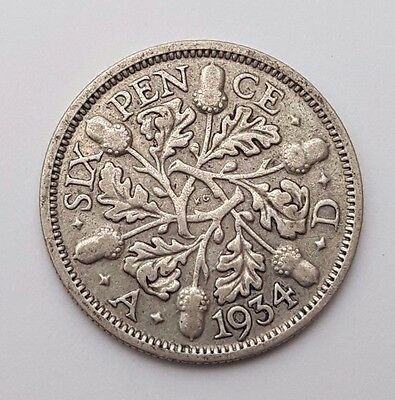 Dated : 1934 - Silver - Sixpence / 6d - Coin - King George V - Great Britain