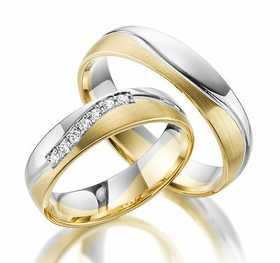 1 PAIR WEDDING Rings Bands Wedding Rings Gold 585 with