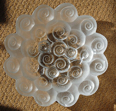 Josef Inwald Sea Shells Barolac Glass Serving Centerpiece Bowl Dish Frosted