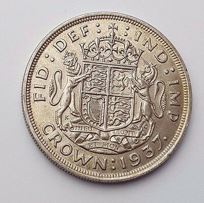 Dated : 1937 - Coronation Crown - Silver Coin - One Crown - King George VI