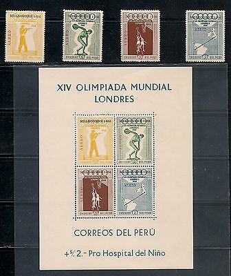 PERU 1956 Melbourne Olympics ovpt on 1948. C. Set MH + S/Sheet MNH