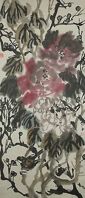 Hanging Scroll Picture Chinese Painting China bird peony Asian Ink Antique l52