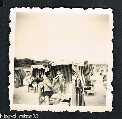 vintage FOTO - PHOTO,  Strandkorb Freizeit beach chair plage /38c