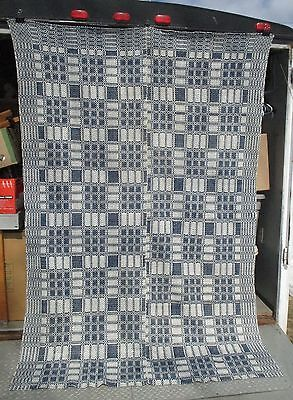 "Antique Mid 1800s Primitive Blue & White 2 Panel Woven Coverlet 64"" x 90"""