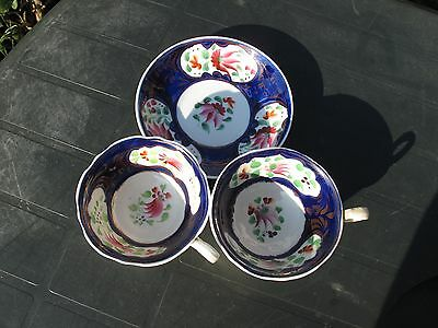 Antique 19th Staffordshire Floral Cobalt Blue 2x Cups&Saucer Hand Painted c.1830