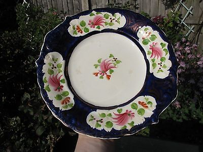 Antique 19th Staffordshire Floral Cobalt Blue Cake Plate/Dish Hand Painted