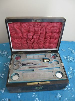 Antique 19th Victorian Walnut Sewing/Jewellery Box With Interior Tray and Extras
