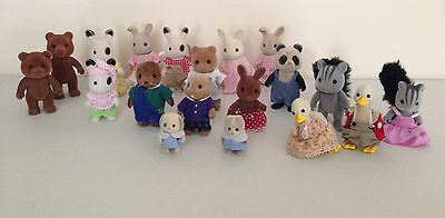 Sylvanian Families Large Bundle of 19 Figures Vintage/Modern and some Clothed