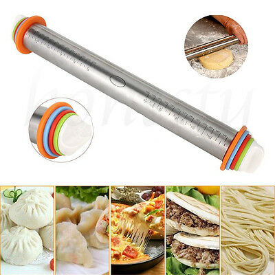 Stainless Steel Adjustable Rolling Pin Removable Rings Baking Dough Pizza Tool