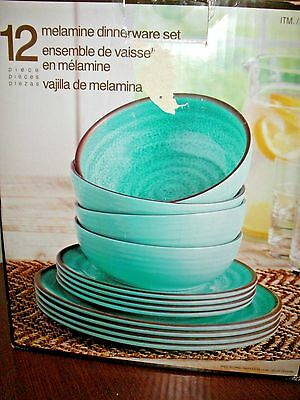 Melamine Dinnerware Set,12 Pc,4 Pl Setting,Turquoise,Dinner,Salad Plate,Bowl,NEW