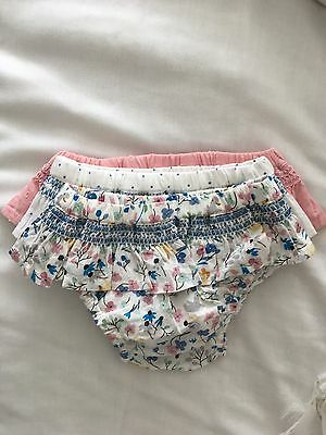 M&S Set Of 3 Multi Colour Pretty Cotton Frilly Knickers-Baby Girls- Newborn New