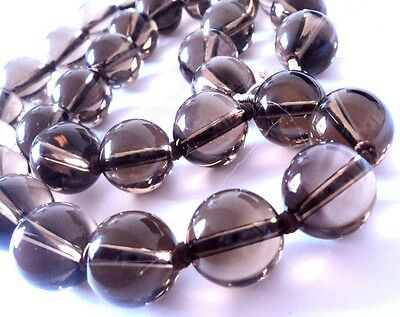 Real SMOKY QUARTZ Chunky Grey-Brown BEAD NECKLACE Sterling Silver 925 47cm