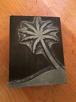 Vintage Letterpress Metal Printing Stamp with Palm Tree Wood Block
