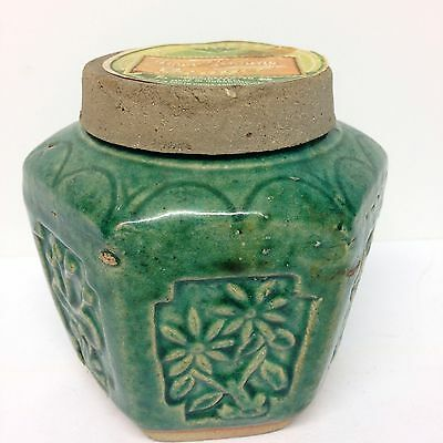 Chinese Green Pottery Export Ginger Jar With Lid Amoy Canning Ginger Hong Kong