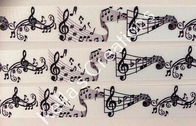 """Music Notes Grosgrain Ribbon 1"""" Sold by 2 M -Craft - Hair bows"""