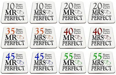 Pair of Mr & Mrs Perfect Anniversary (1st - 70th) Glossy Mug Coasters