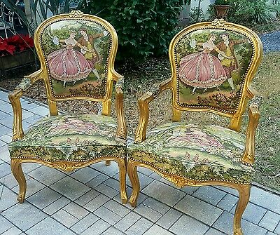 2 French Carved Louis XV gilt Fautiels Tapestry accent side Fireside Arm Chair
