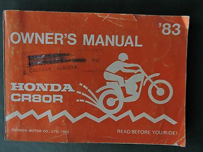 1983 HONDA CR80R Motorcycle Owner's Manual French and English USED