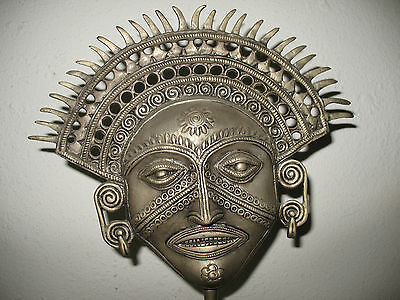 Thailand Mask Bronze Figure Goddess Asian Face Tattoo Art Third Eye Swirl