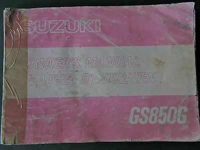 1979 Suzuki Motorcycle Gs850G Owner's Manual French & English