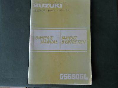 1983 suzuki gs650gl Motorcycle owner's manual, English and French language Used