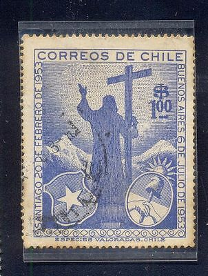 Chile Used Stamp 100$ Man Shadow Cross Stand Sun Ice Mountain A4151