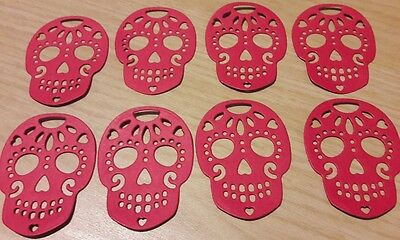 Sugar Skull die cut shapes x8 red crafting scrapbooking card making 200gsm xcut