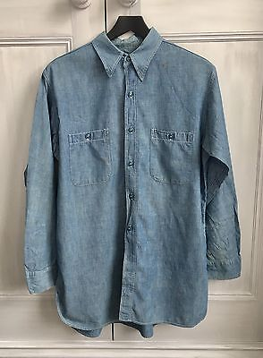 Vintage WWII US Navy Chambray Work Shirt With Stencil- Size L