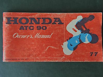 1977 Honda ATC 90 Owners Manual in ENGLISH ONLY, USED Condition