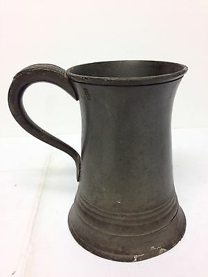 Antique Victorian Pewter Pint Tankard Samuel Mason?