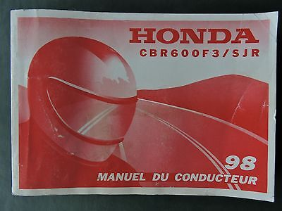 1998 Honda CBR600F3 / SJR OWNERS MANUAL FRENCH LANGUAGE ONLY