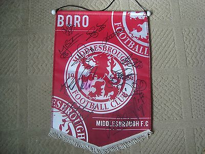 1968 Middlesbrough Fc Pennant Flag Hand Signed Squad The Boro