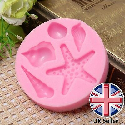 3D Starfish and Beach Sea Shells Silicone Mould for Cake Icing Decoration