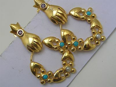Victorian Style Gold Gilt Sterling Silver Hand Flower Turquoise Dangle Earrings
