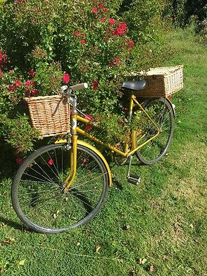 Vintage Ladies Bicycle With Front & Rear Wicker Baskets