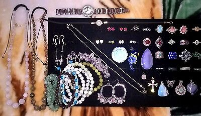 Jewelry lot mixed 50 item, most Sterling Silver, w/ precious stone, great price!