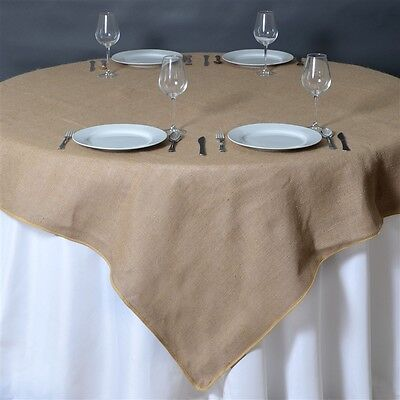 "10 Natural BURLAP 72x72"" TABLE OVERLAYS Rustic Wedding Party Catering Supplies"