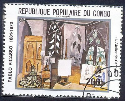 Congo 200F Used Stamp A5397 Door House Portrait Painting Pablo Picasso